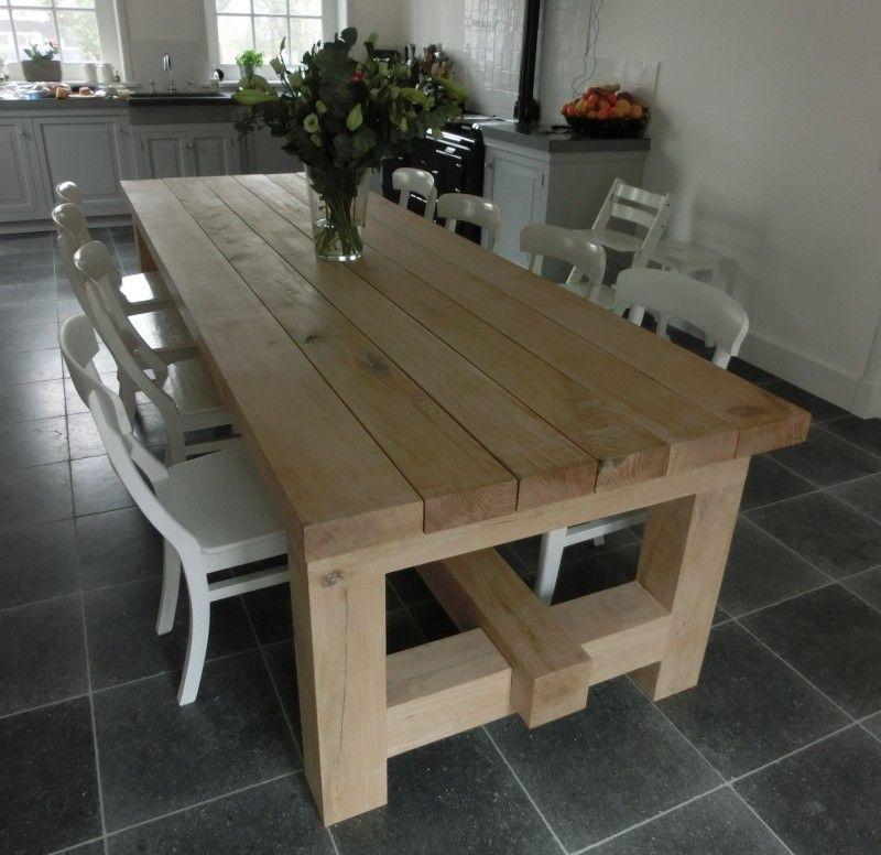 Balk Met H Onderstel Wood Table Diy Farmhouse Dining Table