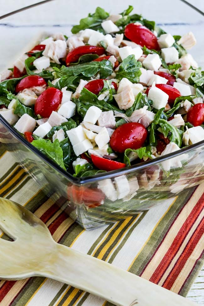 Baby Arugula Chopped Salad With Chicken Fresh Mozzarella And Tomatoes Recipe Low Carb