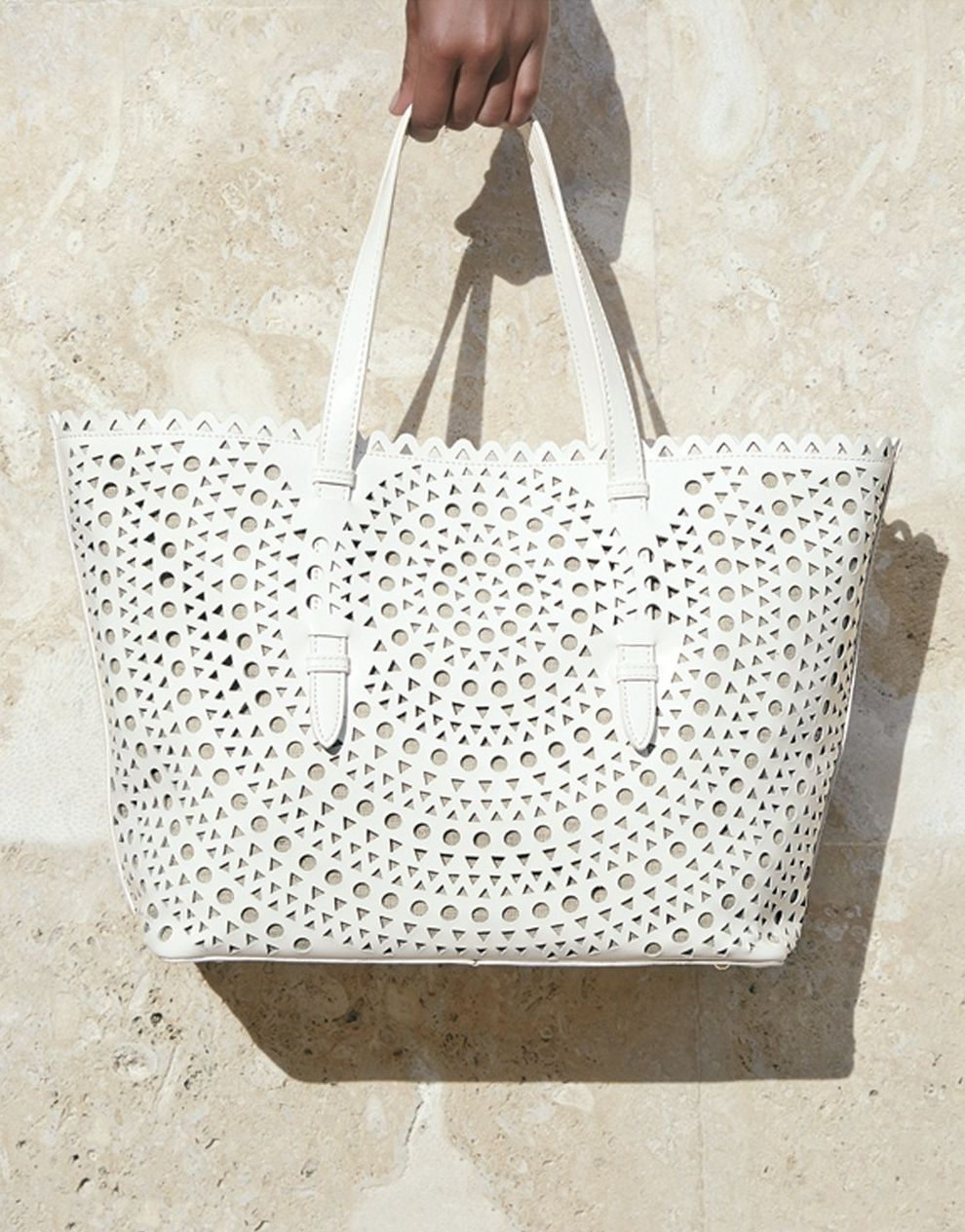 Sondra Roberts Perforated Leather Tote | Leather totes, Leather ...