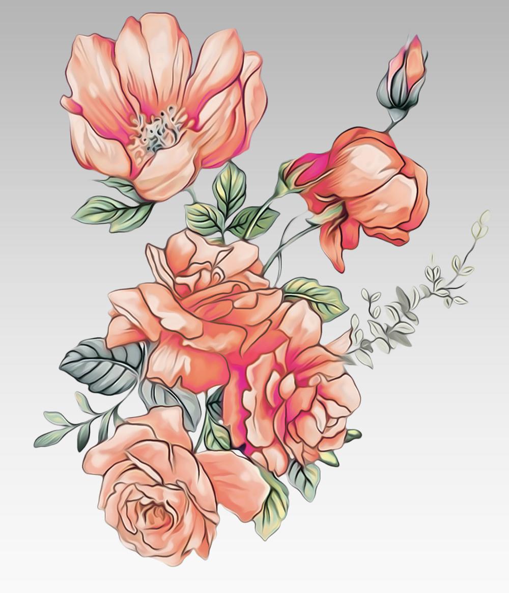 Flowers On Behance Digital Flowers Abstract Flower Art Flower Drawing