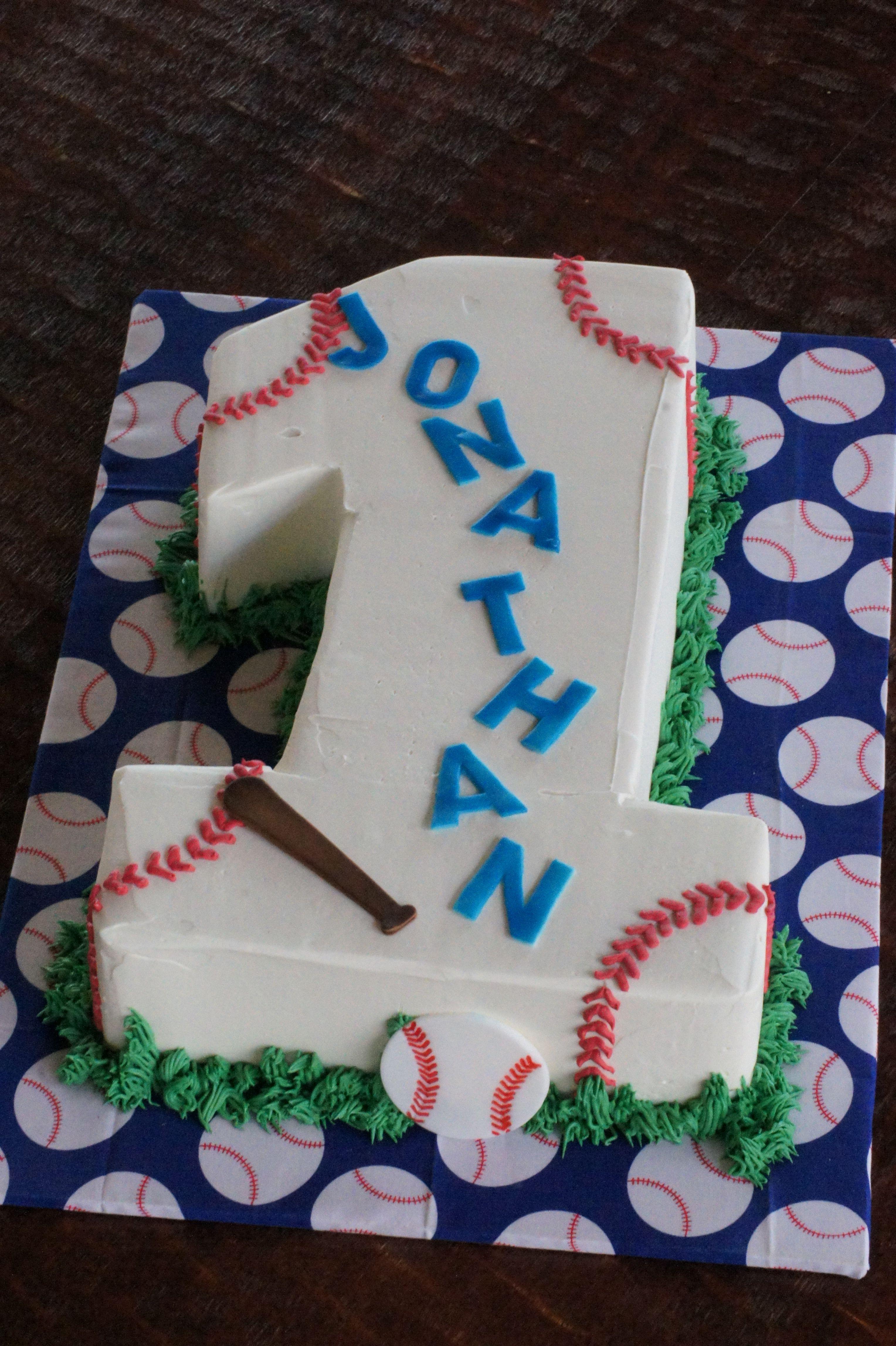 Number 1 Shaped Birthday Cake With Baseball Theme
