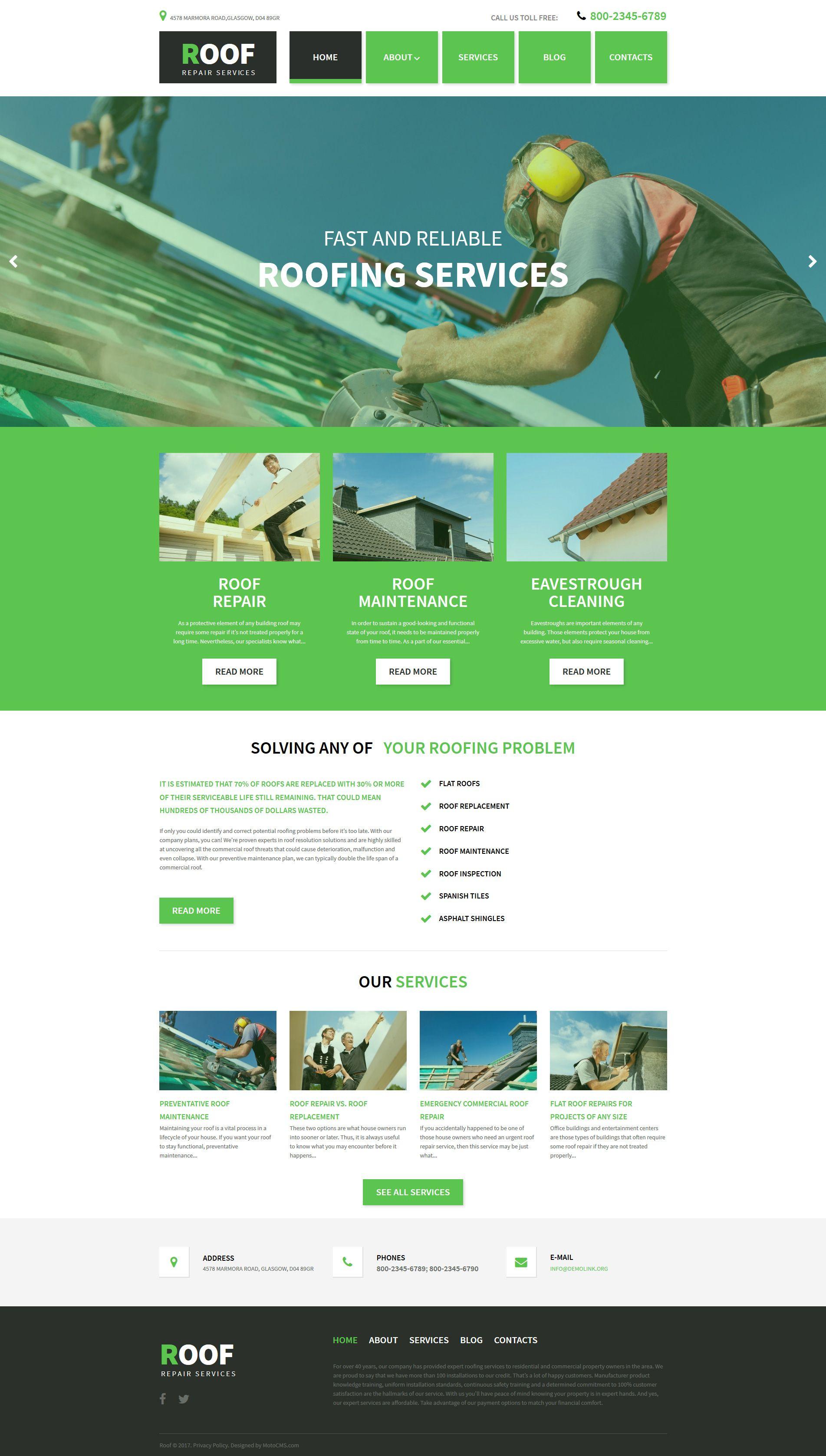 roofing company responsive moto cms 3 template design bundle