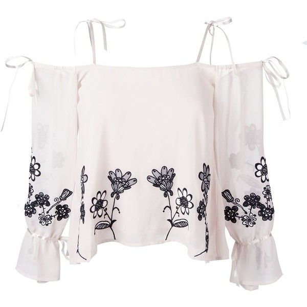 For Love And Lemons Embroidered Flower Top (€200) ❤ liked on Polyvore featuring tops, white embroidered top, white top, embroidery top, embroidered top and flower top