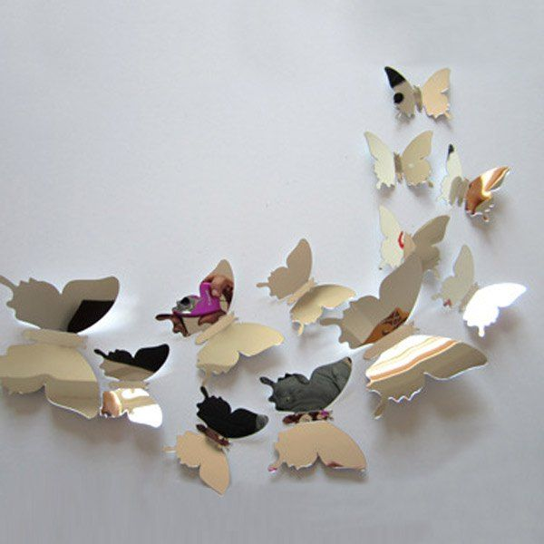 12pcs Removable Pvc 3d Butterfly Wall Sticker Home Diy Living Room Decor Decor Decals Stickers Vinyl Art Home Garden