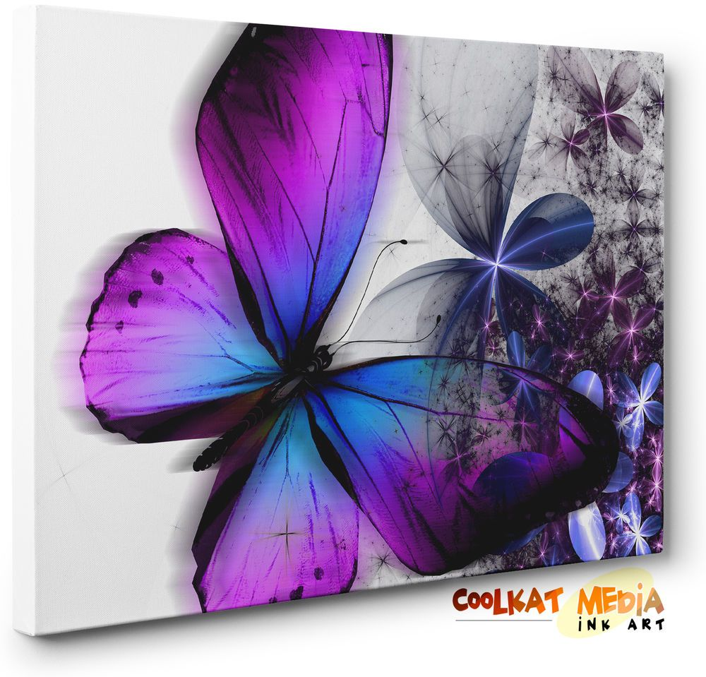 details about purple blue abstract floral butterfly canvas wall art print ready to hang. Black Bedroom Furniture Sets. Home Design Ideas