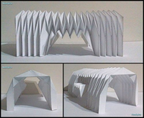 Paper Barrel Vault Architecture Origami Folding V4