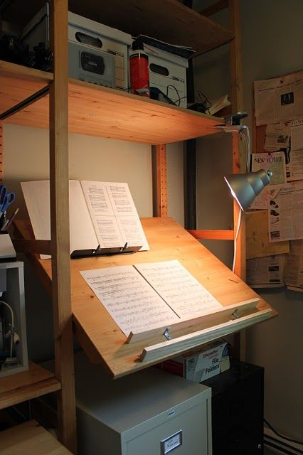 Ivar Stand-up Music Cueing Desk / Drafting Table - finally, an Ikea Hackers hack I could actually use in my room! Yay!