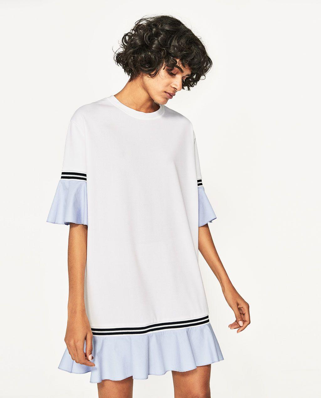 Vestido azul y blanco zara