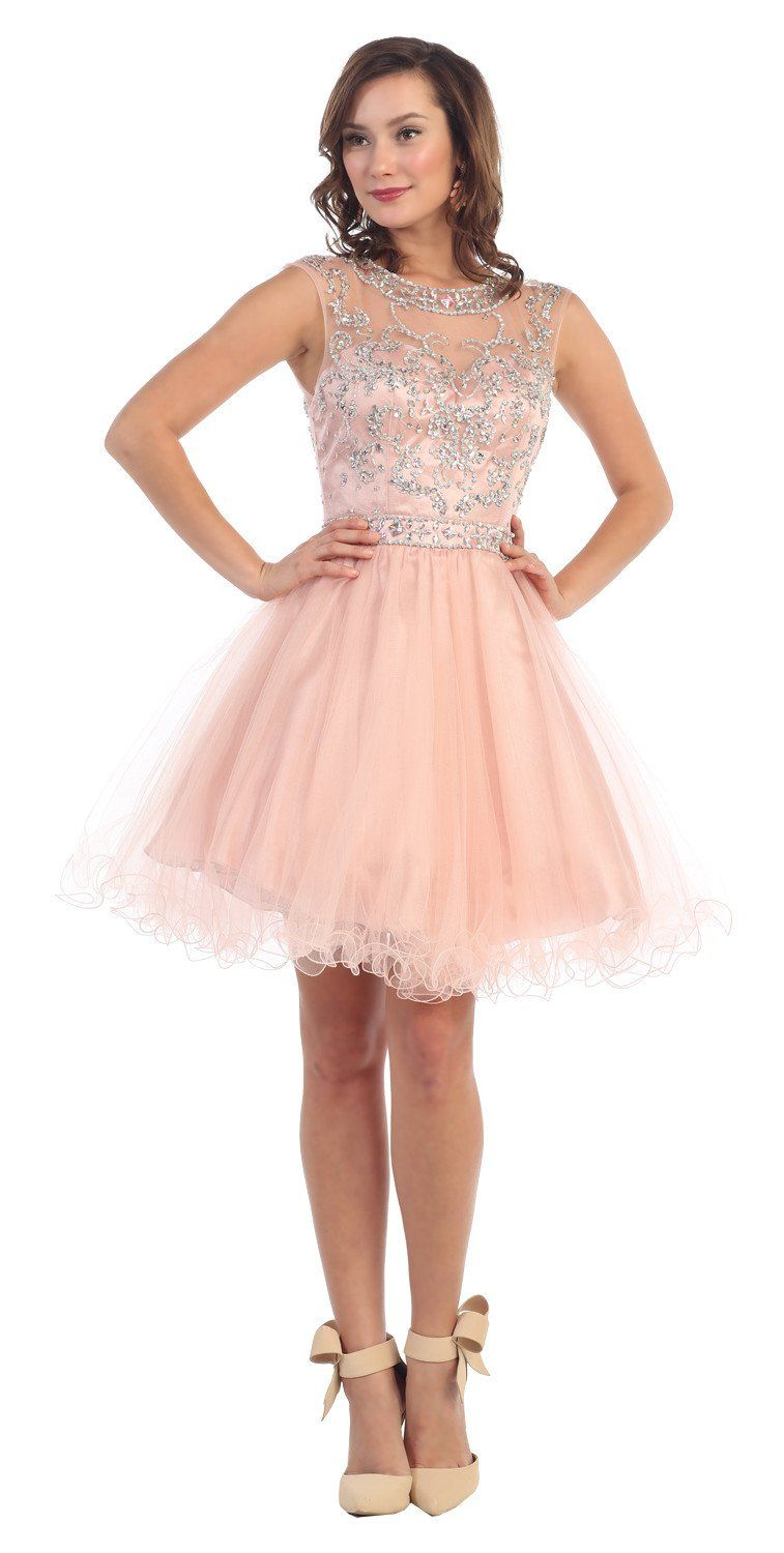 db41a42e06d This stunning homecoming short dress features sleeveless