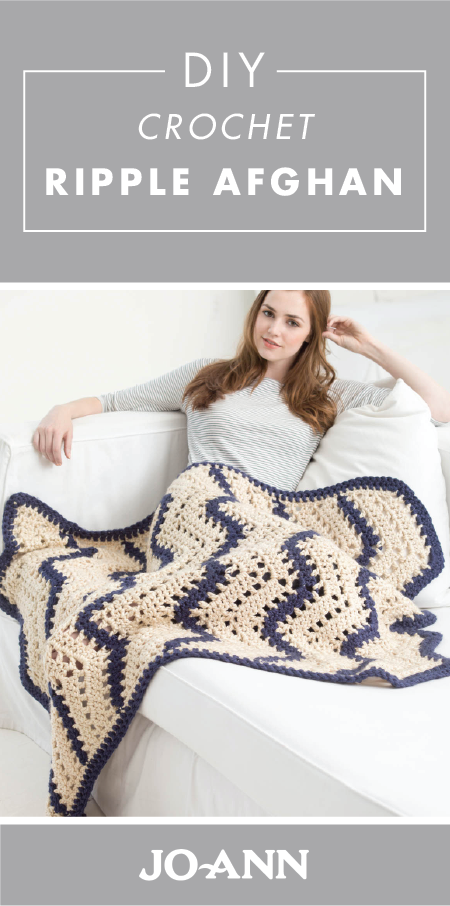 We're crazy for crochet! And you will be too once you check out this project idea for a DIY Crochet Ripple Afghan Blanket. With a neutral color scheme and a cozy texture, this craft would be a great addition to your living room.