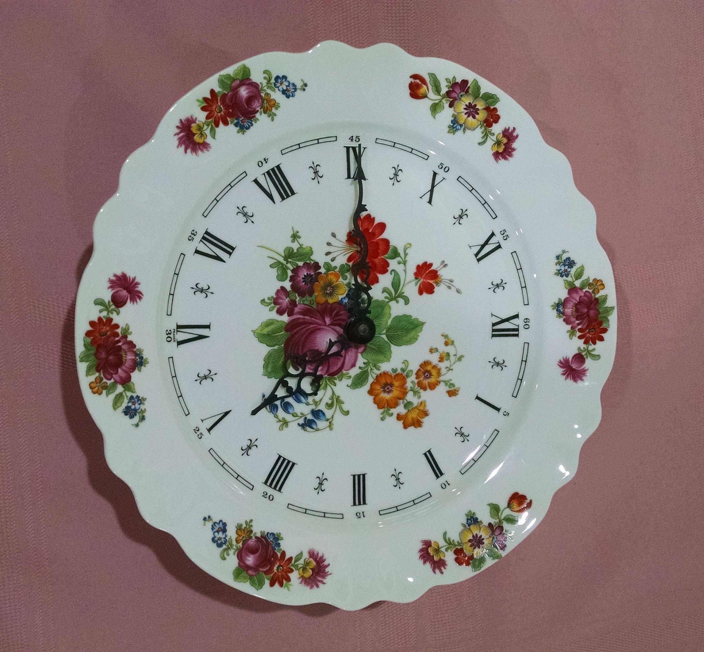 Limoges Floral Plate Wall Clock Le Trefle Bulova Watch