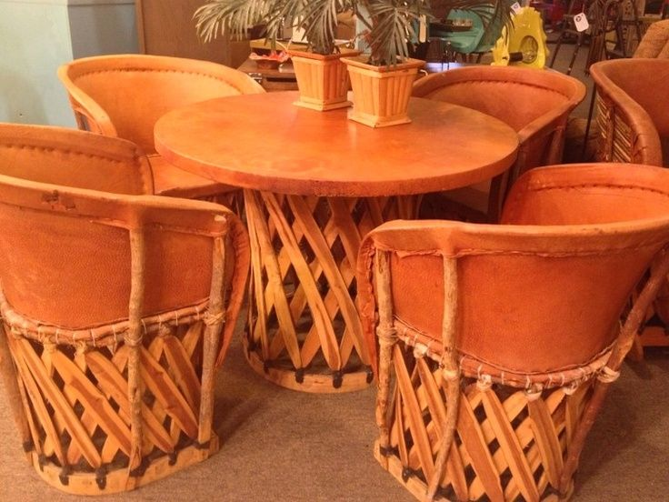 Vintage Mexican Equipale Leather And Wood Dining Table And