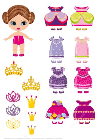 image about Printable Dress Up Paper Dolls referred to as Very little Princess Paper Doll with a Preset of Royal Clothes