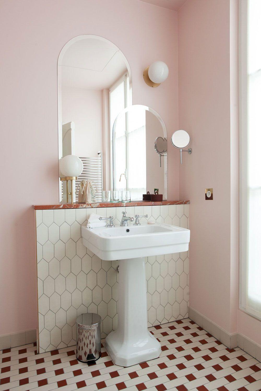 White Pedestal Sink In Pale Pink Modern Bathroom Sfgirlbybay