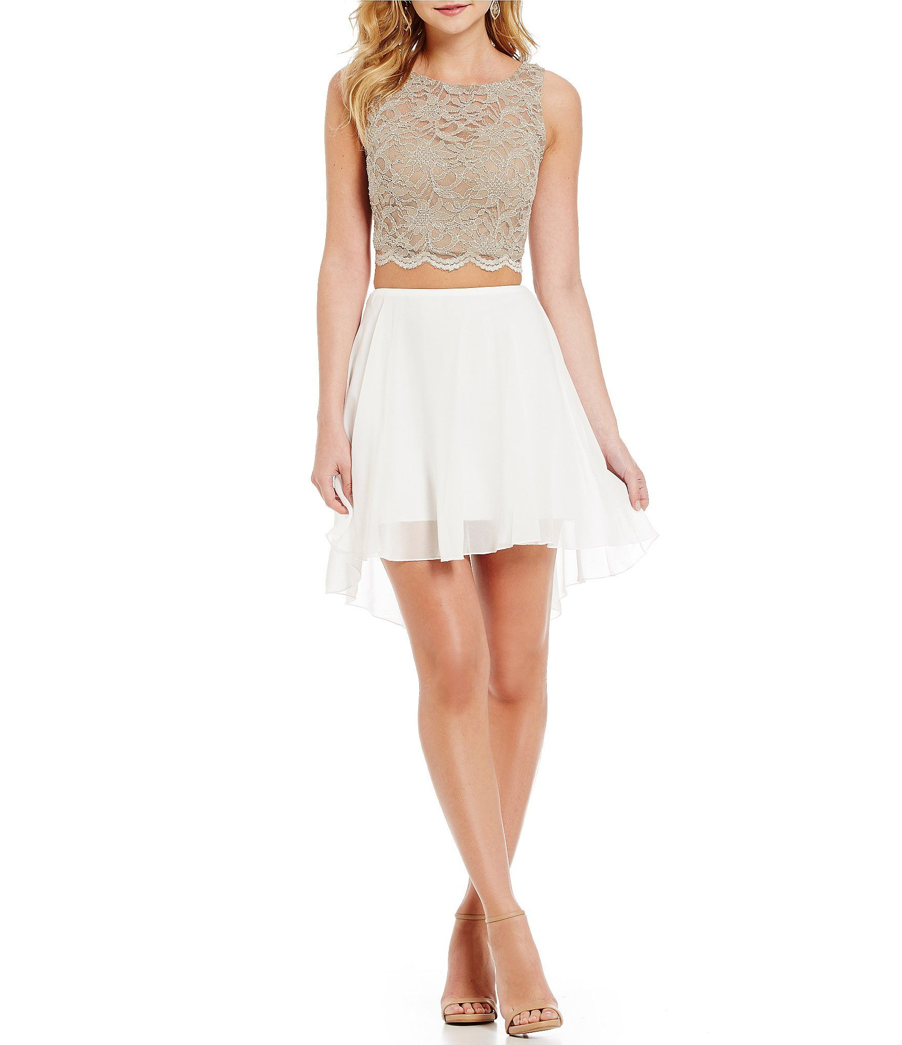 Shop for jodi kristopher lace top illusionback twopiece highlow