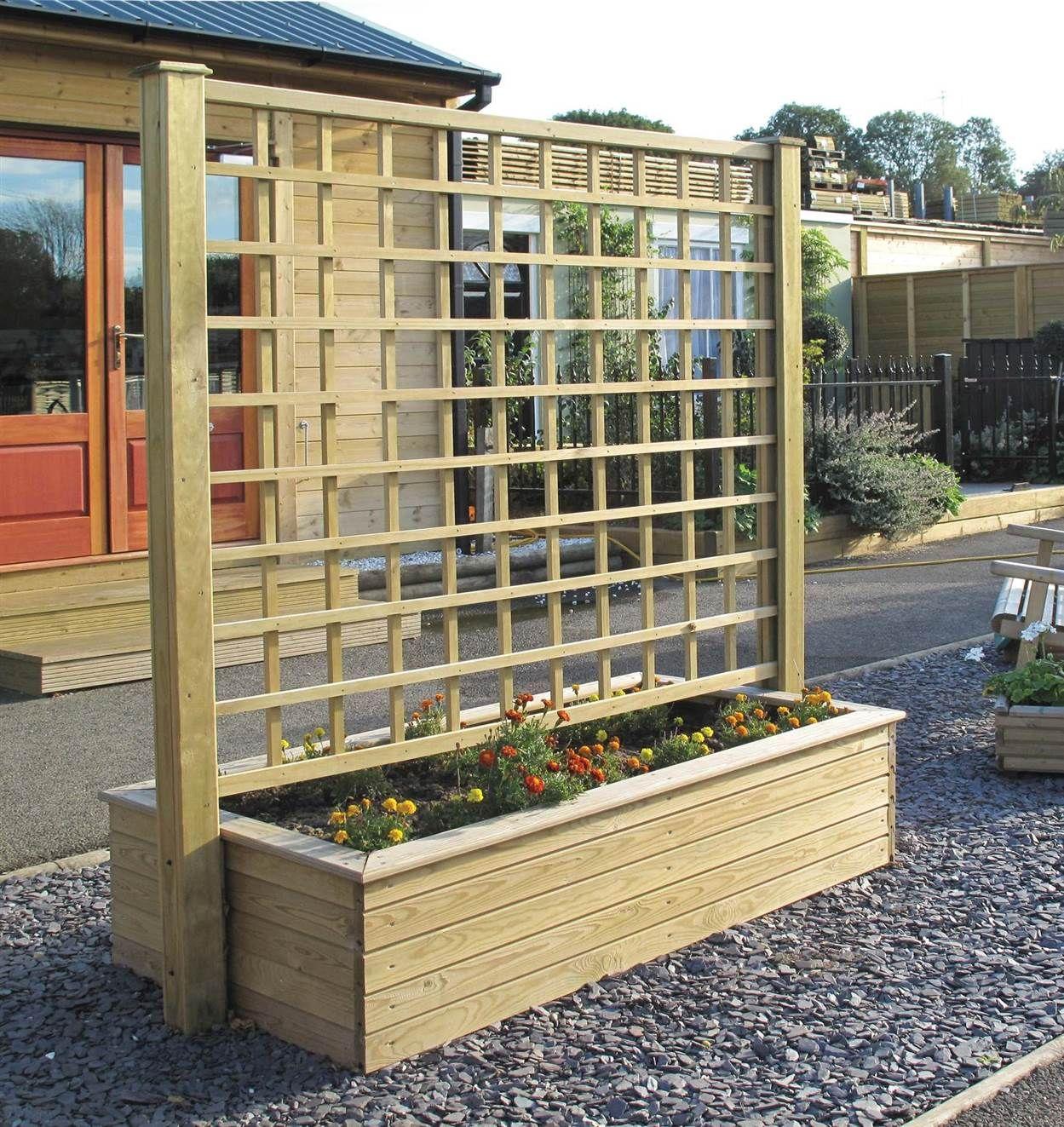 bacs fleurs avec panneau treillis bois agencement terrasse pinterest treillis bois. Black Bedroom Furniture Sets. Home Design Ideas