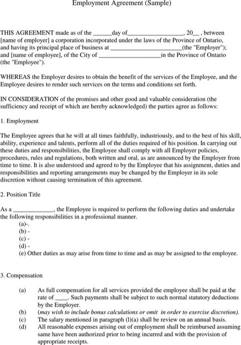 Employment Contract Template Templatesforms Pinterest