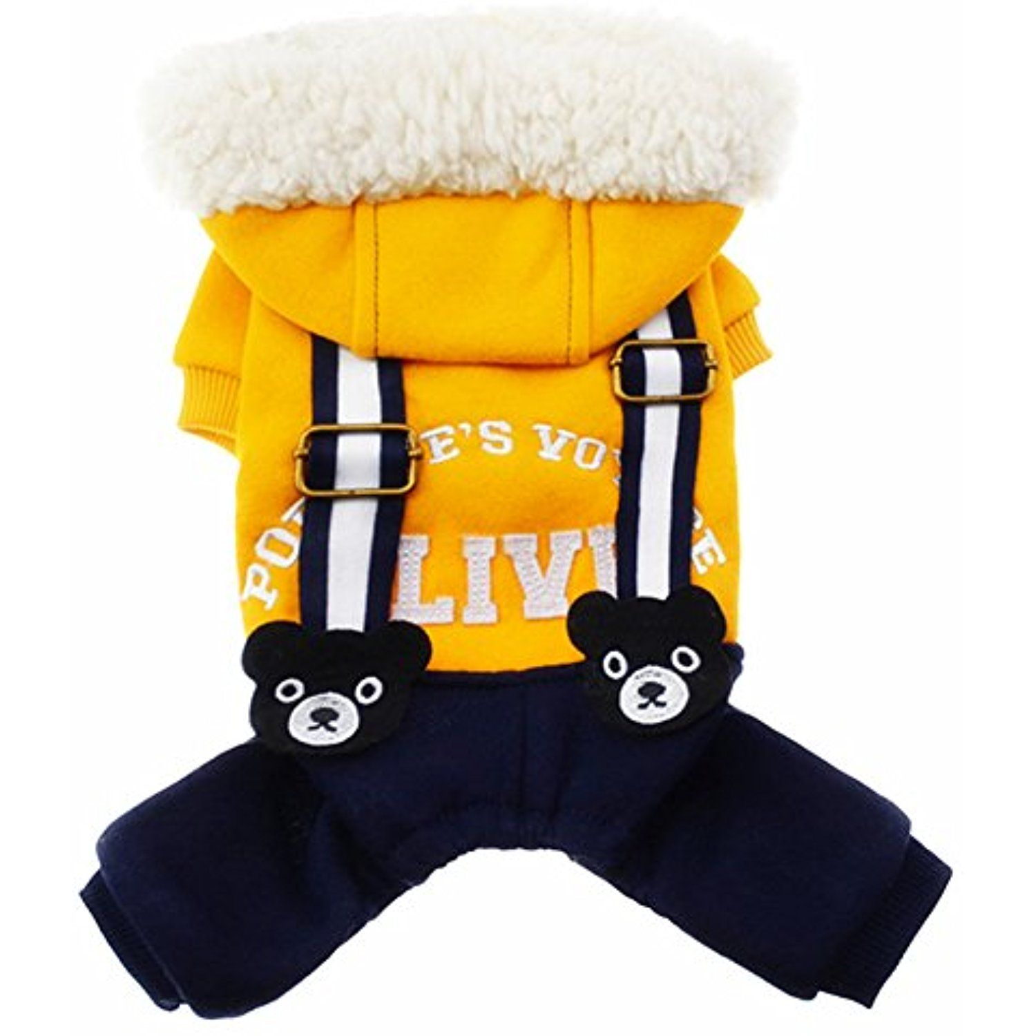 e460111bb Tromy Pet Clothes Dog Plush Hooded Overall