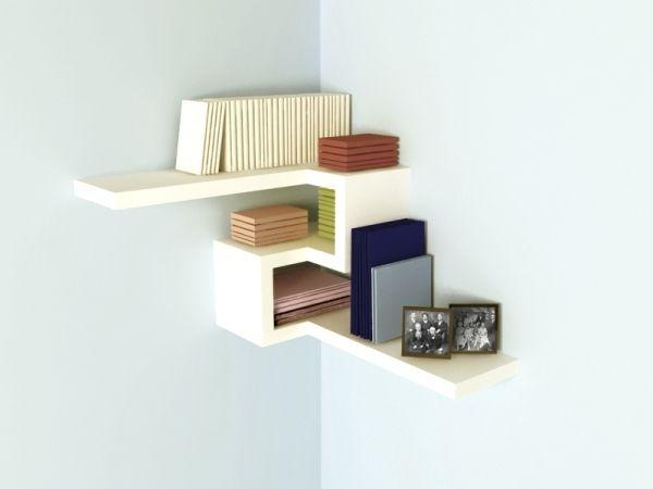 Creative Furniture Design Ideas Floating White Corner Shelf Small Bookshelf