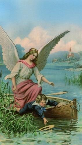 Heiligenbildchen Heiliger Schutzengel mit Kind ca. 12 x 7 cm