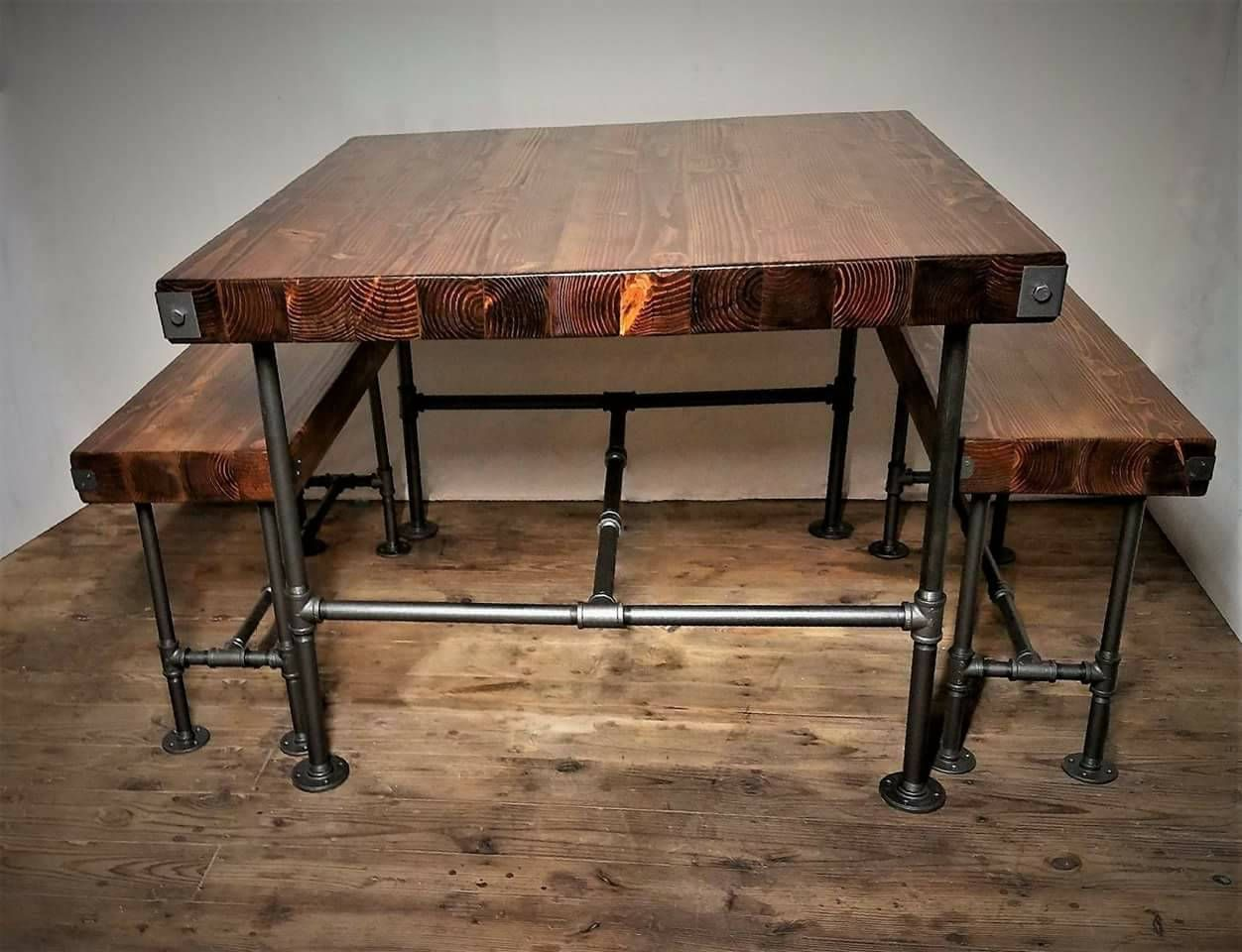 Table Bench Set Custom Wood Steampunk Rustic Industrial Steel Pipes Counter Height Table And Bench Table And Bench Set Counter Height Table Steampunk Table