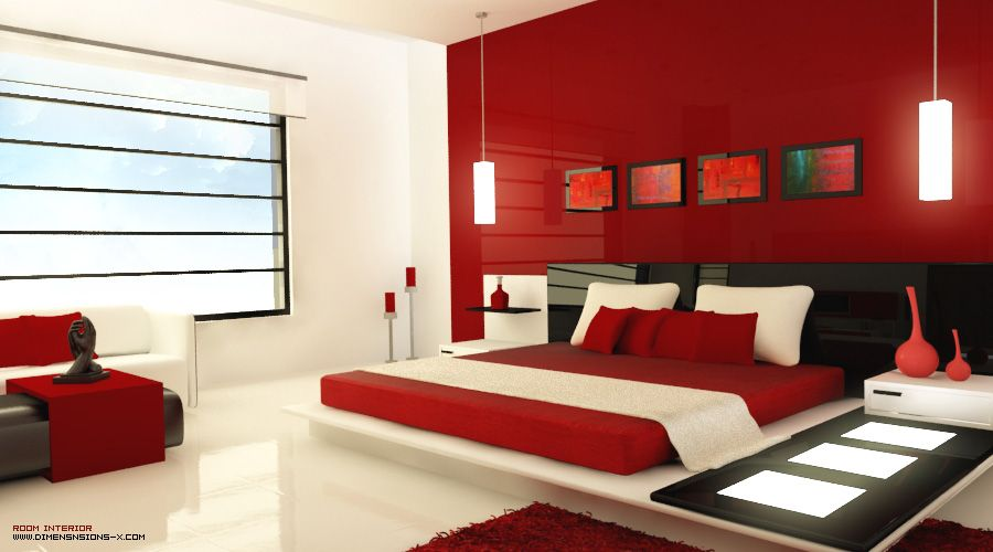 White black and red modern bedroom with light panels and red vases red bedroom design