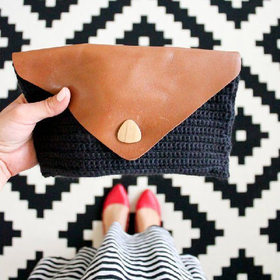 Make A Clutch By Crocheting Into Punch Leather Diy Crochet And Knitting Diy Clutch Bag Crochet Clutch