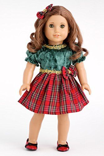 1ff12c2e9 Christmas Classic - Green and Red Party Dress with Red Shoes - 18 Inch American  Girl