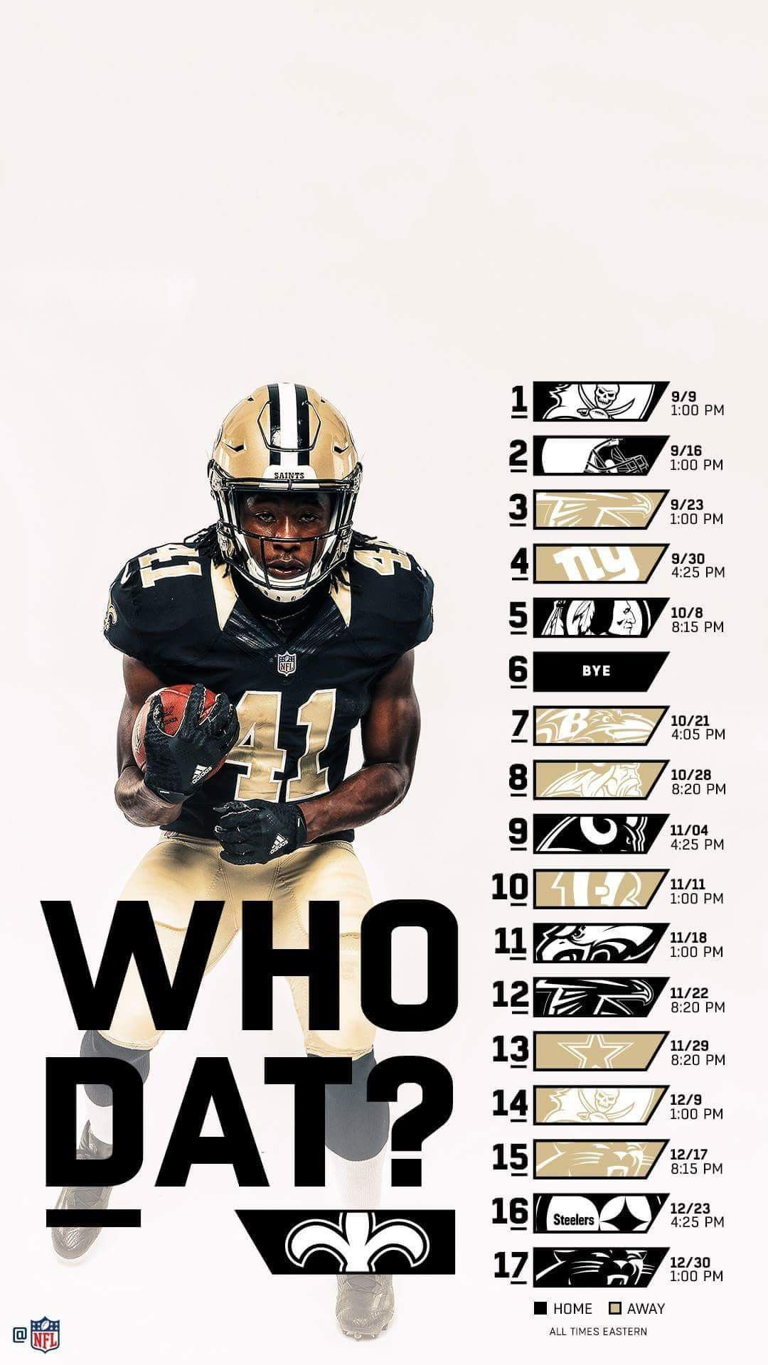 New Orleans Saints 2018 iPhone and Android Schedule wallpaper. #Whodat