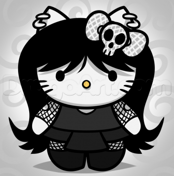 Goth Kitty | how to draw goth hello kitty