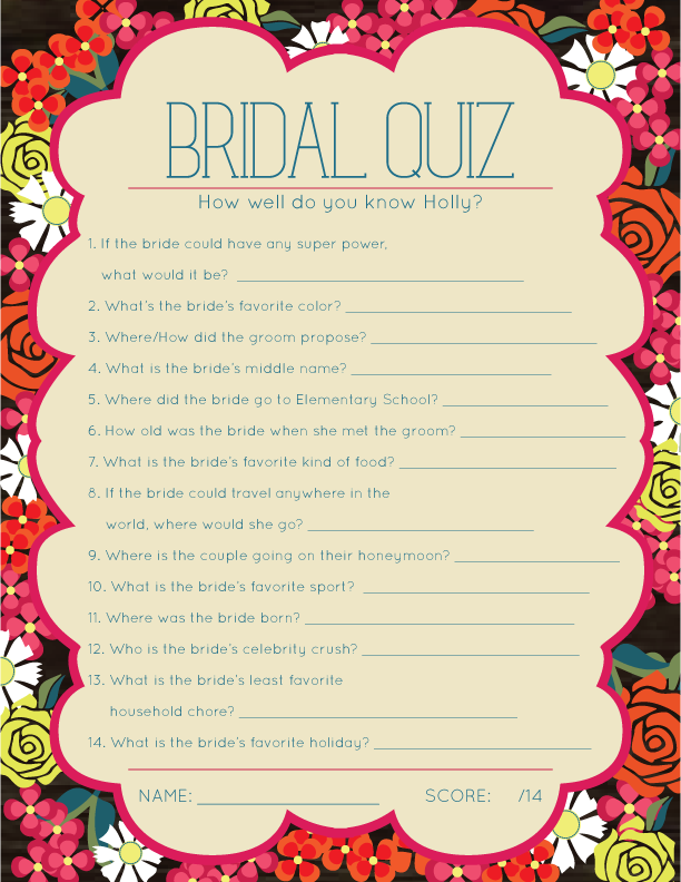 fiesta floral bridal shower games