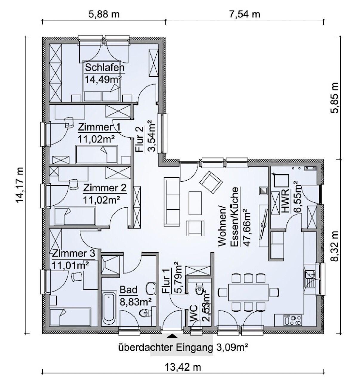 Fertighaus Grundriss Bungalow Haus ebenerdig mit Walmdach