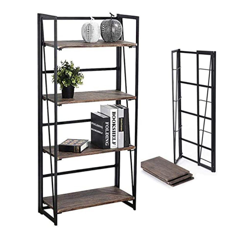 4 Tier Folding Wood and Metal Bookshelf