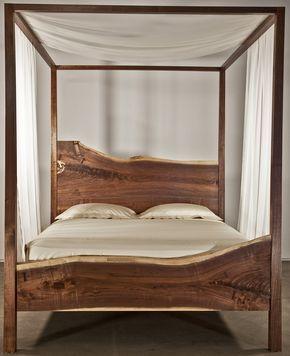 Beautiful Live Edge Queen Canopy Bed Black Walnut