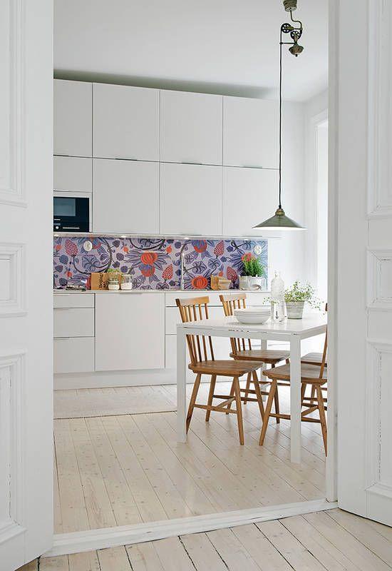 Tapeta W Kuchni Kitchen Interior White Modern Kitchen Home Kitchens