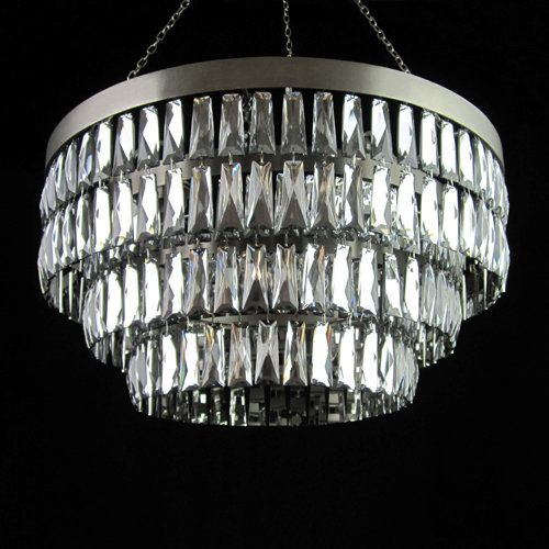 Tigermoth Lighting Mirrored Crystal Shallow Chandelier With Flat Nickel  Metalwork.