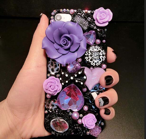 5ada9435cbf Luxury iphone 8 crystal back cover Cases Bling 3D purple flower cases for samsung  galaxy note 4 5 S6 S7 edge PLUS S8 PLUS J5 j7 PRIME A5 A7 2017 rhinestone  ...