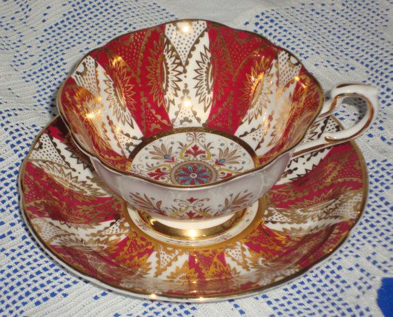 Hand Painted Paragon China RED And GILT Tea Cup And Saucer