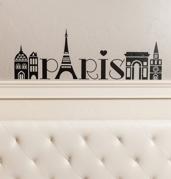 Paris Girls Tower City Wall Decal Vinyl Lettering Quote Sticker - Modern car decal sticker girl