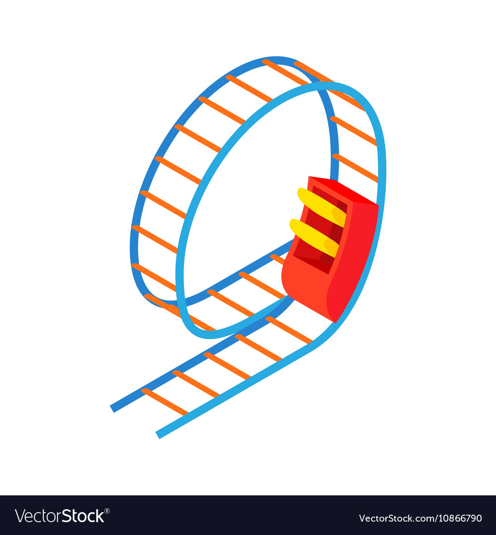 Swing Roller Coaster Icon Cartoon Style Vector Image On Vectorstock Cartoon Styles Bicycle Illustration Roller Coaster