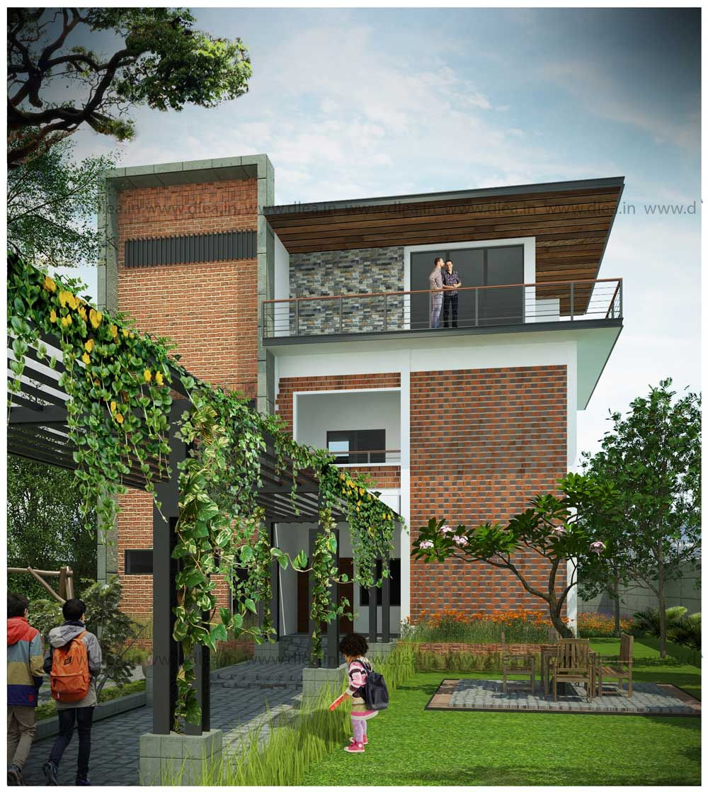 Front Elevation Design Ideas From Architects In Jaipur: Exposed Brick Elevation Design