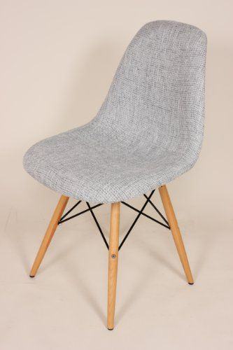 Mid Century Grey Upholstered Eames Style DSW Wooden Dowel Dining Chair