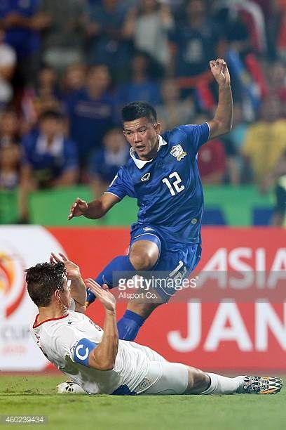Prakit Deeprom of Thailand clashes with Robert James of the Philippines during the 2014 AFF Suzuki Cup semi final 2nd leg match between Thailand and...