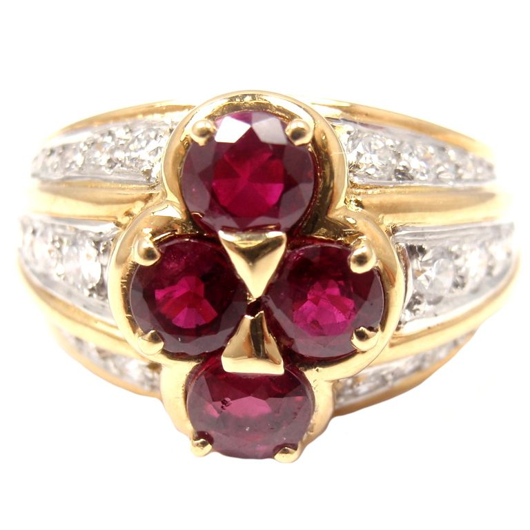 VAN CLEEF & ARPELS Diamond Ruby Yellow Gold Ring 1970s
