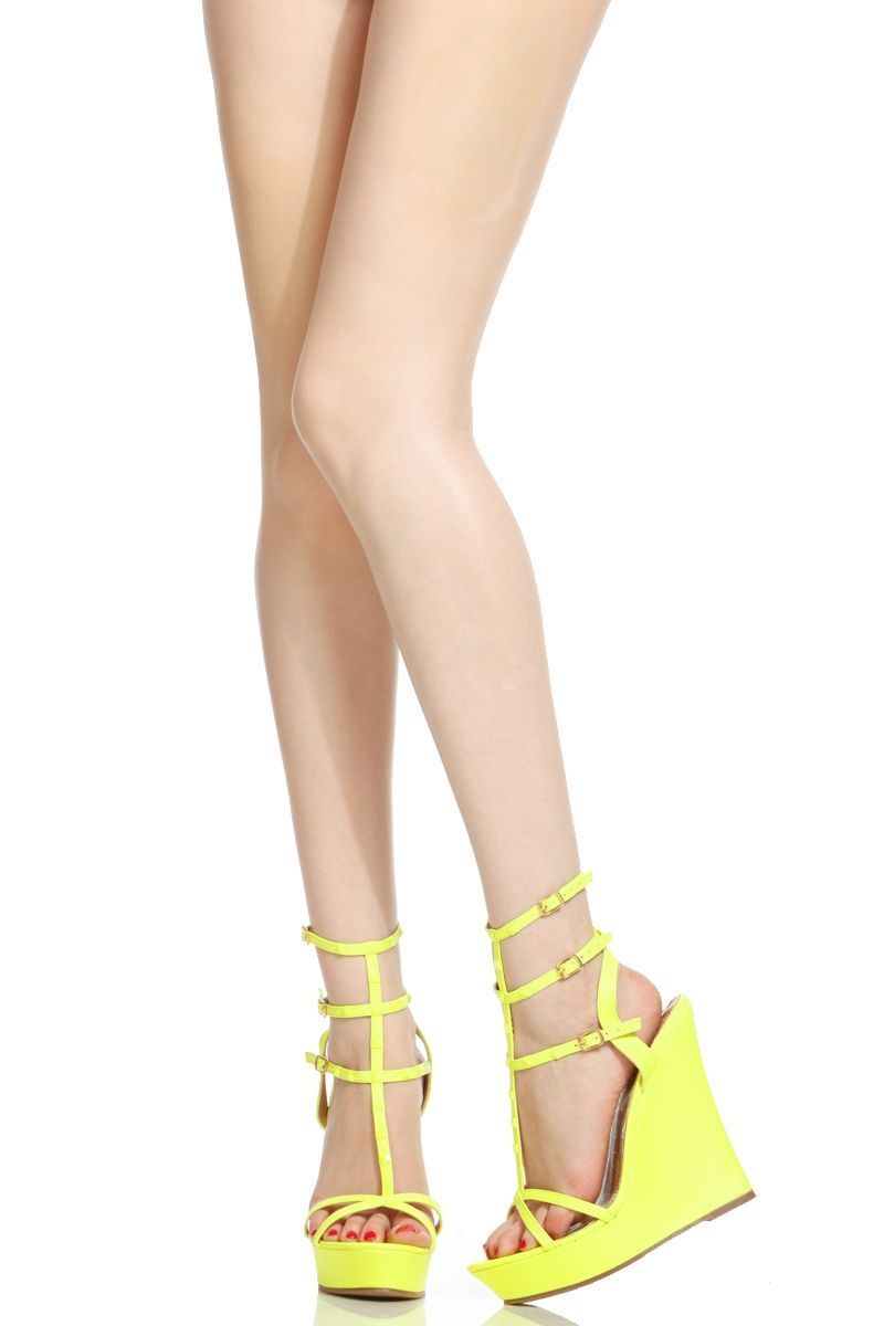 ffc3d4646c2a Neon Yellow Faux Leather Studded Ankle Strap Wedges   Cicihot Wedges Shoes  Store Wedge Shoes