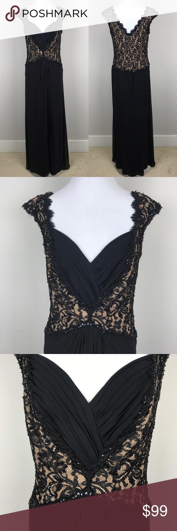 Tadashi shoji black lace formal gown long dress tadashi shoji