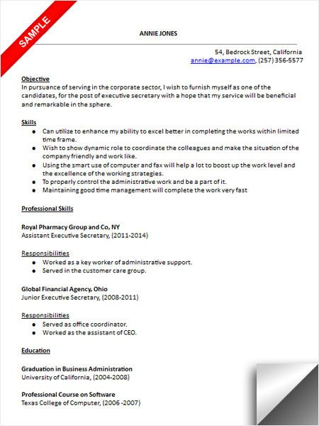 executive secretary resume sample - Executive Secretary Resume Sample