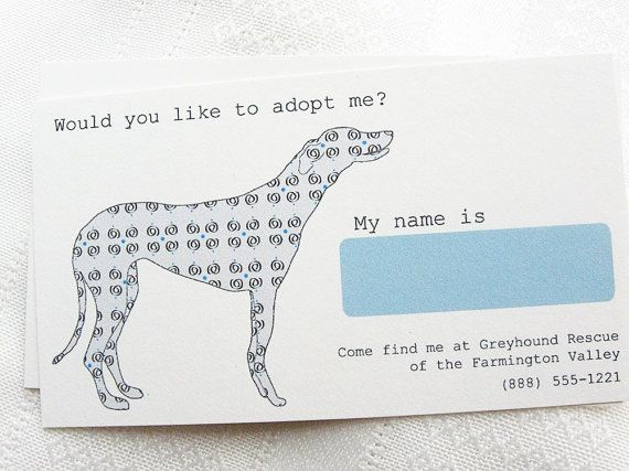 Adopt Me Rescue Dog Calling Card Foster Dog Dog Business Rescue Dogs