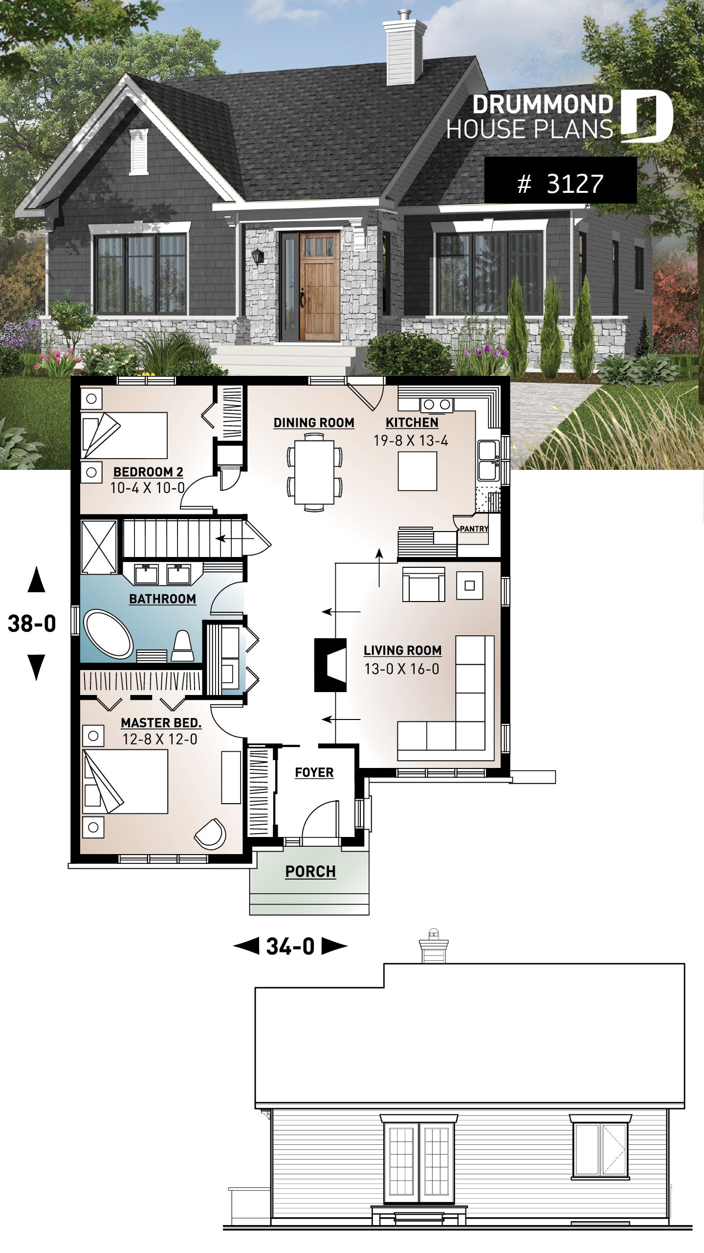 Discover The Plan 3127 Rosewood Which Will Please You For Its 2 Bedrooms And For Its Craftsman Northwest Styles Ranch Style House Plans Basement House Plans Ranch House Plans