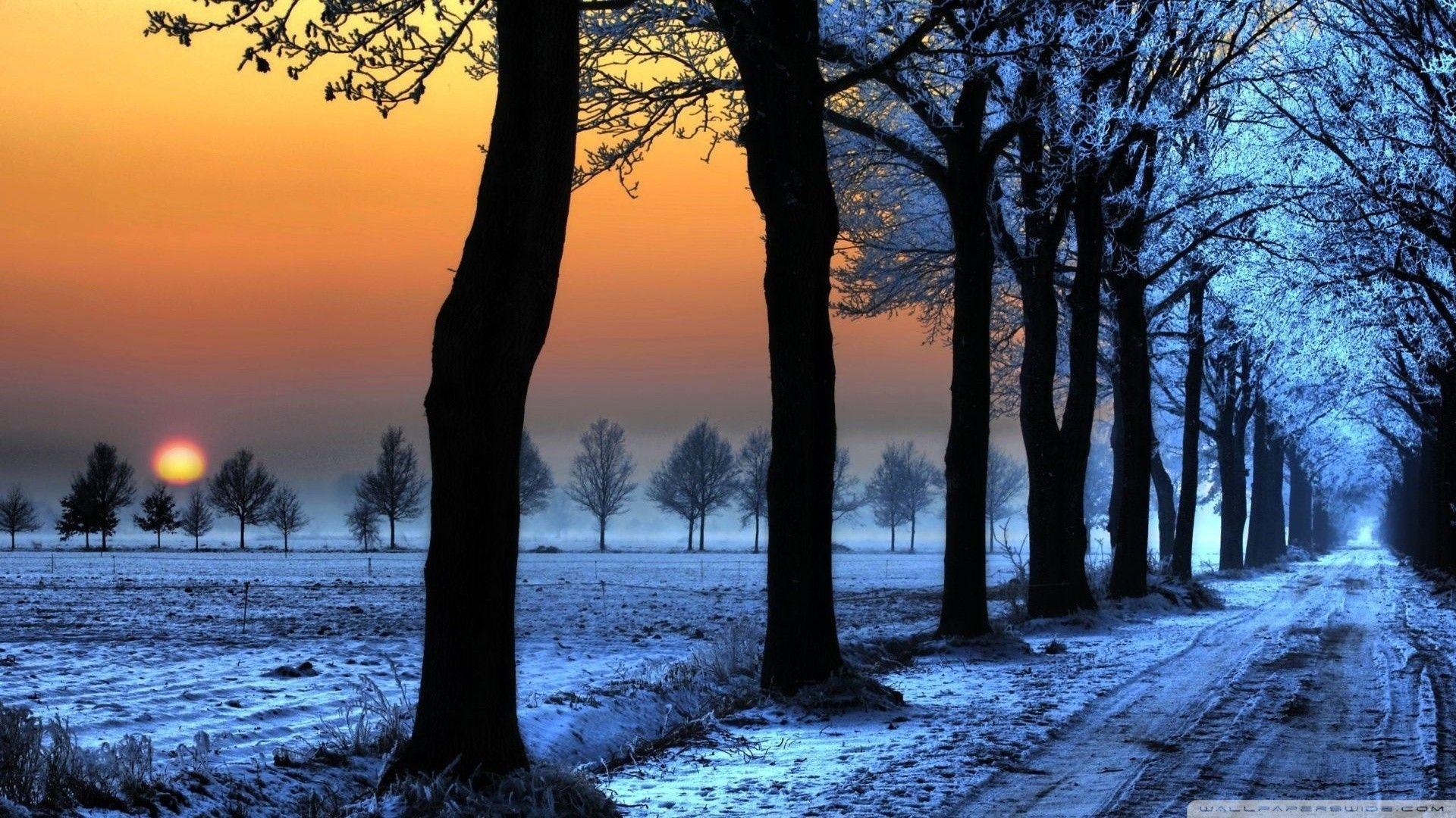Winter Nature Wallpaper Free For Desktop Wallpaper Winter Landscape Winter Sunset Winter Nature